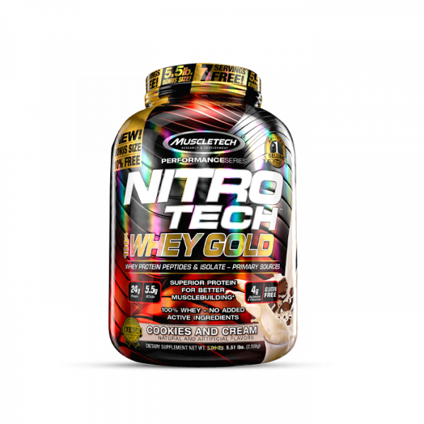 MUSCLETECH - Performance Series Nitro Tech 100% Whey Gold, 2508g - Cookies and Cream Proteine